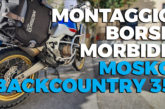 Montaggio borse morbide Mosko Backcountry 35 L su telaietti Outback Motortek X-frame